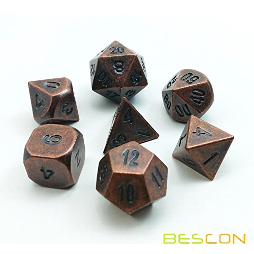 Bescon Antique Copper Solid Metal Polyhedral D&D Dice Set of 7 Old Copper Metal RPG Role Playing Game Dice 7pcs Set - Heavy Dice