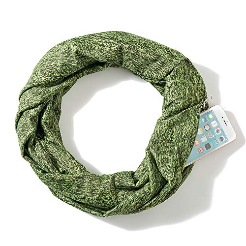 Chic Women Thick Scarf With Double Layer Zipper Pocket-Soft Stretchy Jersey Infinity Scarf (Green)