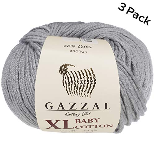 3 Pack (Ball) Gazzal Baby Cotton XL Total 5.28 Oz / 344 Yrds, Each Ball 1.76 Oz (50g) / 246 Yrds (225m) Super Soft, DK- Worsted Baby Yarn, 50% Turkish Cotton, Grey - 3430 (Yarn Weight Cotton Dk)