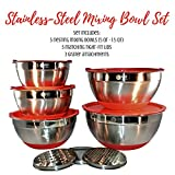 Cook's Fancy 5-Piece Professional Stainless-Steel Mixing Bowl Set, Red Non-Slip Bottoms and Matching Lids, 3 Assorted Grater Attachments, Engraved Measurement Lines