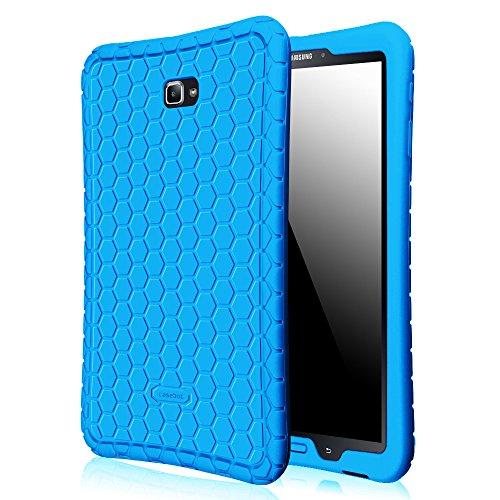 Fintie Silicone Case for Samsung Galaxy Tab A 10.1, [Honey Comb Series] Light Weight Shock Proof Silicone Cover [Anti Slip] [Kids Friendly] for Tab A 10.1 (NO S Pen Version SM-T580/T585/T587), Blue