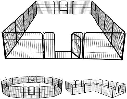 go2buy 16 32 Panels Heavy Duty Dog Pens Metal Foldable Dog Exercise Pen Playpen Barrier Kennel w 4 Doors Indoor Outdoor for Pets Cat Duck Chicken Puppy Fence Black 24-inch