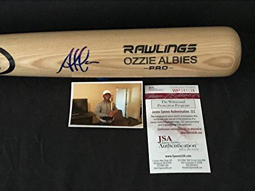 Ozzie Albies Atlanta Braves Autographed Signed Blonde Baseball Bat JSA WITNESS COA
