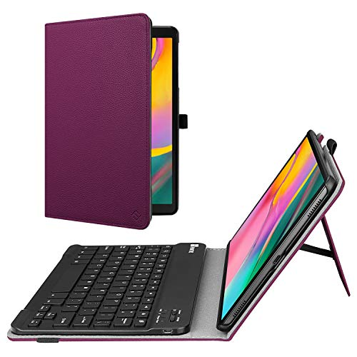 Fintie Folio Keyboard Case for Samsung Galaxy Tab A 10.1 2019 Model SM-T510(Wi-Fi) SM-T515(LTE), Premium PU Leather Stand Cover with Removable Wireless Bluetooth Keyboard, Purple