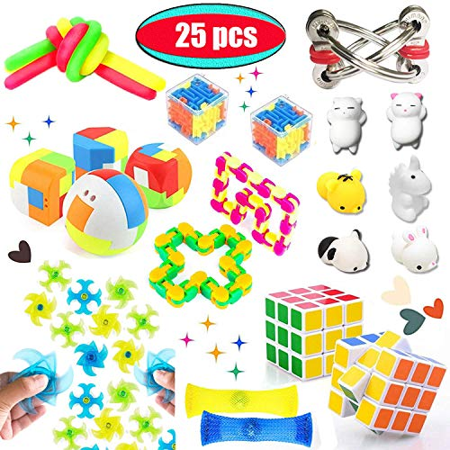 Dciko Fidget Toys Set-Stress Relief Toys for Children and Adults with ADHD Autism-Sensory Tools Bundle for Anti-Anxiety, Cool Finger Gadgets for Keep Hands Busy, Fidgeting Items Assortment for Special Needs(25Pack)