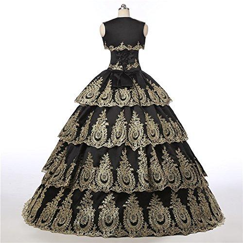 Tesoro Diandiai Quinceanera Cristallo Vestito Oro Style6 Abiti black Del Promenade Dell'abito Appliques Gold Palla Di amp; BB5xqFwrv4