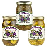 Jake & Amos Pickle Variety Pack 16 oz. Bread & Butter, Dill Garlic Chips, Million Dollar (1 Jar of Each)