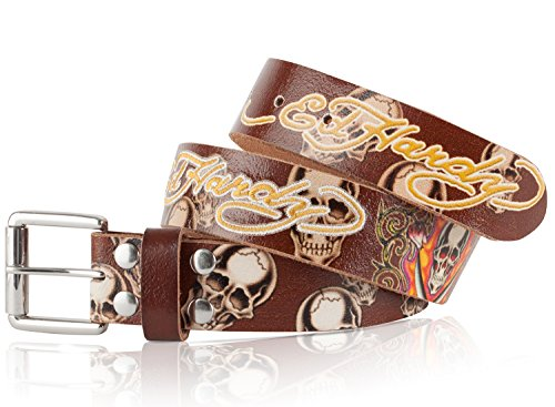 (Ed Hardy EH1203 Flaming Skull Kids-Boys Leather Belt XL )