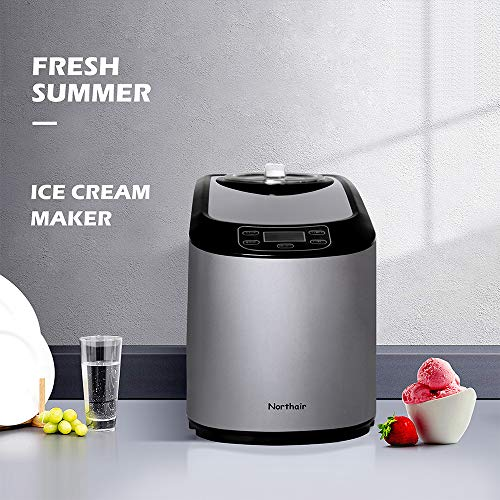 Northair Ice Cream Maker with Compression Cooling, 1.4 Quart Automatic Ice Cream Machine Countertop with Recipe Book, Timer Function, LCD Display, without Pre-Cooling, Dark Gray (Ice Cream Recipe Without Ice Cream Machine)