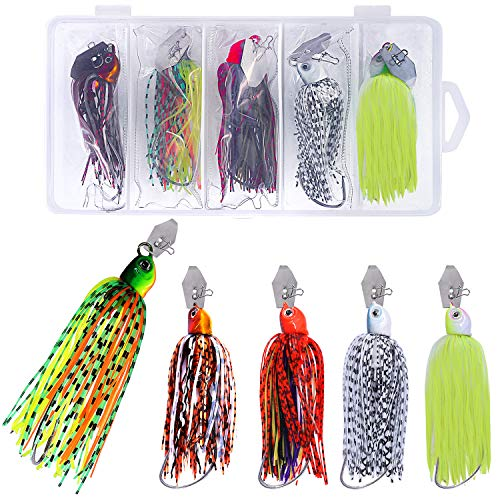 Extreme Bait Tackle - PLUSINNO Fishing Lures Chatterbait for Bass, Buzzbait Spinnerbait Jigs with Tackle Box, 5pcs Fishing Lure Tackle Gear Kit Set...