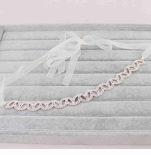 Stardream Rose (Rose Gold Rhinestone Crystal Wedding Bridal Headband Hair Vine with Ivory Organza Belt)