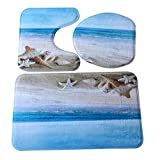 GBSELL 3pcs/set Fresh Bathroom Non-Slip Ocean Deer Pedestal Rug + Lid Toilet Cover + Bath Mat (ocean #3)