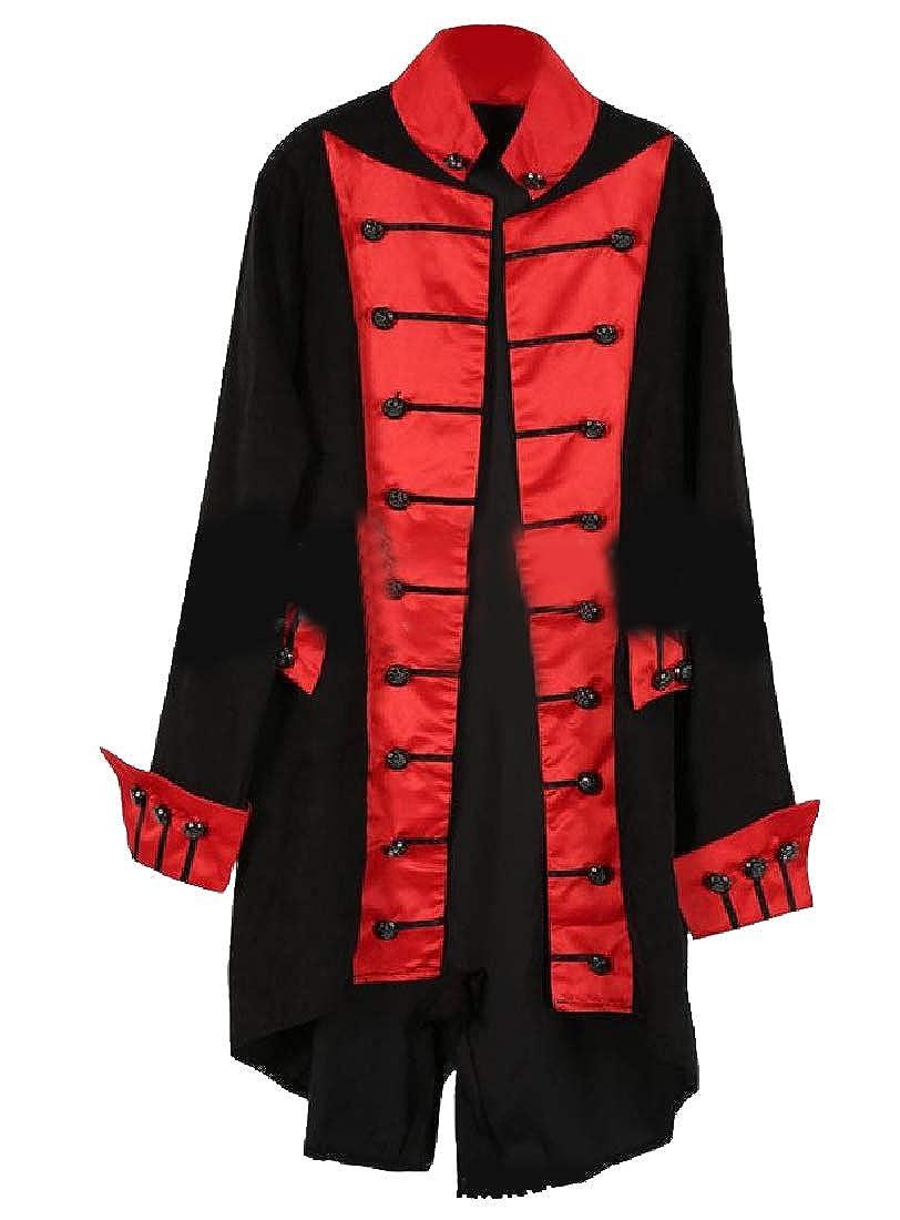 Winwinus Men Maxi and Midi Victorian Stand Collar High Low Overcoat