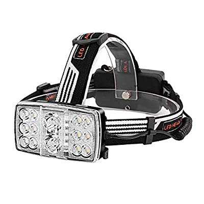 Mifine 5000 Lumens Led Headlamp Flashlight Waterproof 4 Modes Hands Free Headlight with 2 18650 Rechargeable Batteries USB Cable Wall Charger and Car Charger for Outdoor Sports