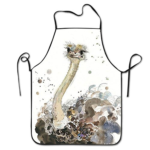 Ostrich Animal Colorful For Family Man Chef Aprons High Shrinkage Grill Apron by SHUREN