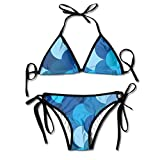Women Sea Blue Mermaid Scales Art Printing Summer Sexy Two Pieces Beach Suit