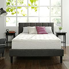 Zinus 12 Inch Euro Top Hybrid Green Tea Foam and Spring Mattress offers cushioned firm support for a better night's sleep. This innovative mattress features a Fiber Quilted Cover, High-Density Support Foam, Green Tea ViscoLatex Foam Comfort L...