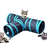 AI YUE 2 Pack 3 Way Collapsible Pet Cat Tunnels Cat Tube Fun Play Toy with Peek Hole for Cat/Kitty/ Kitten/Puppy/ Dogs/Rabbits (2T-Shape, black&blue)