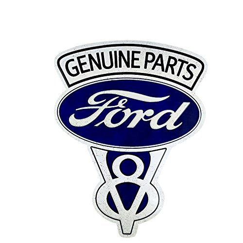 Retro Ford Parts - Imprints Plus Ford Geniune Parts Retro Wall Art Decor Vintage Metal Sign with Hanger and Instruction Card 18688-7