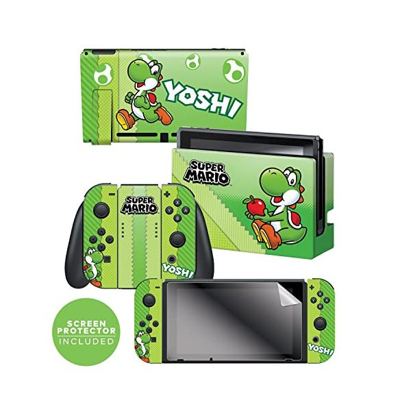 "Controller Gear Nintendo Switch Skin & Screen Protector Set, Officially Licensed By Nintendo - Super Mario Evergreen ""Yoshi Eggs"" - Nintendo Switch 1"