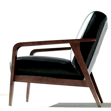 Amazon.com: Αrmed Chair Accent Wood Black Real Leather ...
