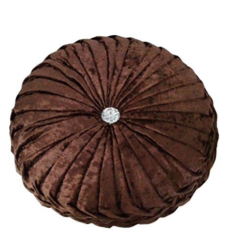 Brown Velvet Pillow - TMJJ Round Solid Color Velvet Chair Cushion Couch Pumpkin Throw Pillow Home Decorative Floor Pillow