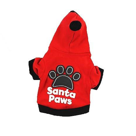 Ropa Perro Pequeño Invierno Sudadera con Capucha para Yorkshire Chiguagua Mascotas Perrito Gato Sanata Paws Abrigos