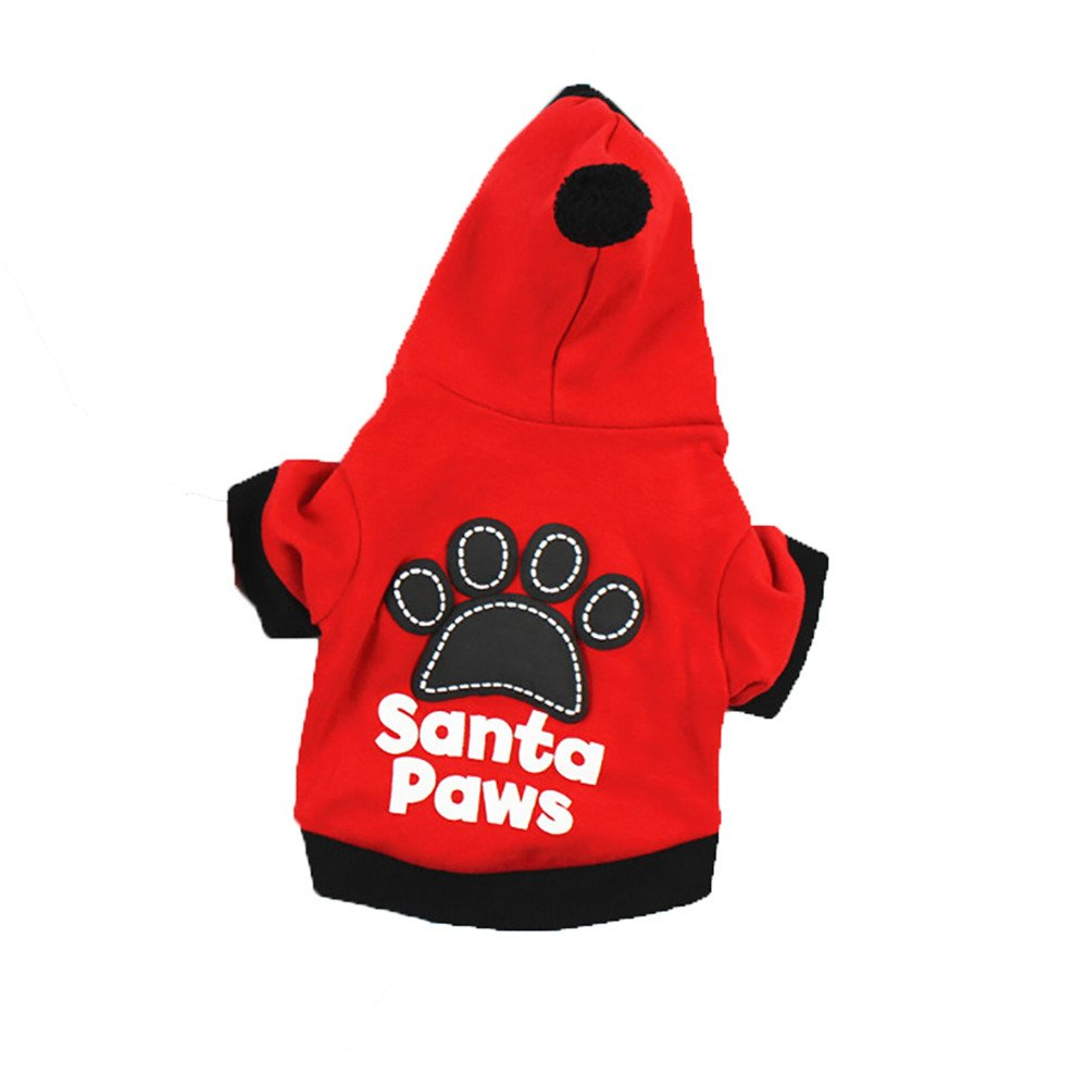 abcnature Christmas Pet Dog Cat Hooded Clothes Santa Paws Puppy Christmas Dog Clothes Footprints Hoodie
