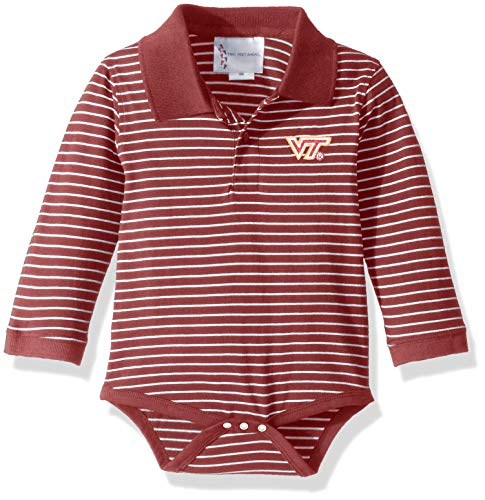 Two Feet Ahead NCAA Virginia Tech Hokies Boys Infant Boys Long Sleeve Stripe Golf Creeperinfant Boys Long Sleeve Stripe Polo Creeper, Purple, 12 Months
