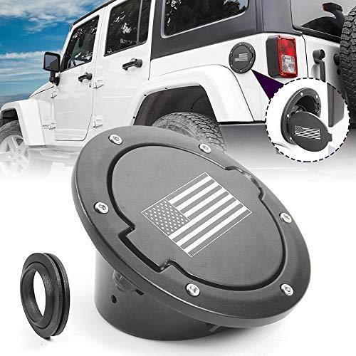 JeCar Fuel Filler Door Cover Aluminum Gas Tank Cap for 2007-2018 Jeep Wrangler JK & Unlimited 2/4 Door