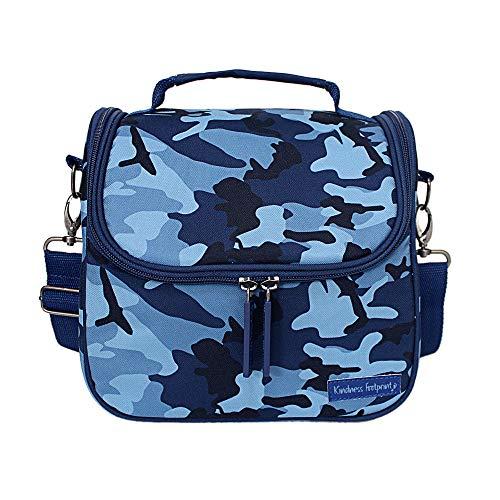 [해외]카모 런치 박스 어린이 및 성인용 누출 방지 단열 런치 백 학교 또는 직장용 조절 가능한 탈착식 스트랩 / Camo Lunch Box For Kids & Adults Leak Proof Insulated Lunch Bag For School or Work Adjustable Detachable Straps (Blue)