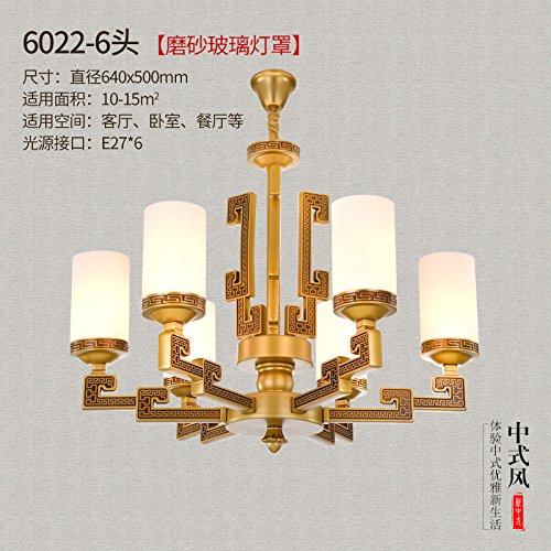 ... Villa lámpara araña de bronce antigua restaurante chino iluminación, 6022-6 helado pantalla enviado 5 vatios bombilla LED de luz: Amazon.es: Iluminación