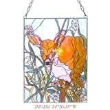 HF-286 Tiffany Style Stained Glass Yellow Cattle Rectangle Window Hanging Glass Panel Sun Catcher, 24''Hx18''W