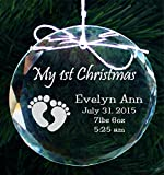 Babys First Christmas Ornament, Handmade Crystal Holiday Ornaments - COR005
