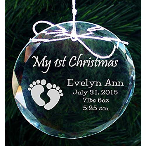 babys first christmas ornament handmade crystal holiday ornaments cor005 by frederick engraving
