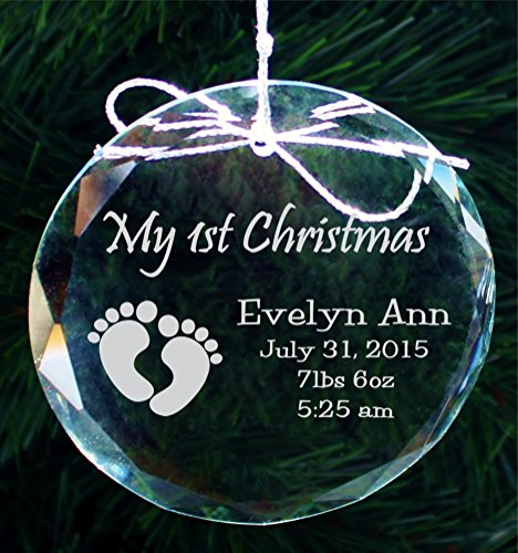 Crystal Holiday Ornament - Babys First Christmas Ornament, Handmade Crystal Holiday Ornaments - COR005
