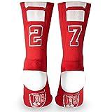 Custom Team Number Crew Socks | Athletic Socks by ChalkTalkSPORTS | Red | 27
