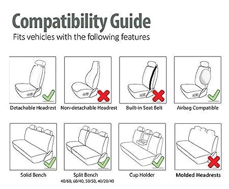 Lussuoso Nero-Bianco 2 EverFabulous Coprisedili Auto Crown Pelle PU e Tessuto Traspirante 3D sedili in Pelle Auto Sedile Completamente circondato
