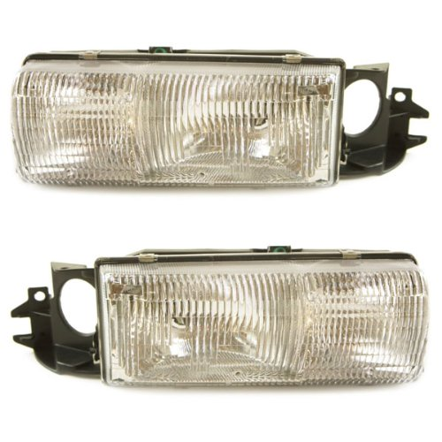 (1991-1996 Chevy/Chevrolet Caprice & Impala SS, 1992-1996 Buick Roadmaster & Station Wagon, 1991-1992 Olds/Oldsmobile Custom Cruiser Headlight Headlamp Front Head Light Lamp with Bracket Pair Set Right Passenger AND Left Driver Side (1991 91 1992 92 1993 93 1994 94 1995 95 1996 96))