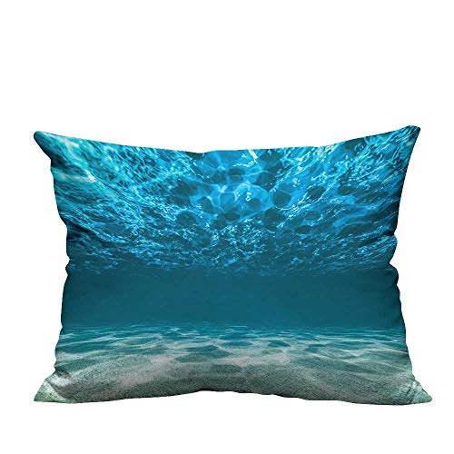 YouXianHome Decorative Throw Pillow Case Bright Gravelly Bottom and Wavy Surface Tropical Seascape Abyss Underwater Pict Ideal Decoration(Double-Sided Printing) 11x19.5 inch