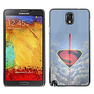 SAMSUNG Galaxy Note 3 III / N9000 / N9005 , Radio-Star - Cáscara Funda Case Caso De Plástico (Minimalist Flying S Superhero)