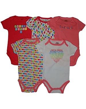 Baby Girls 5pc Short Sleeve Bodysuit, Pink, 6-9 Mos