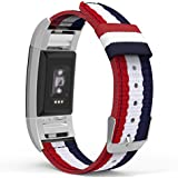 "MoKo Fitbit Charge 2 Band , Fine Woven Nylon Adjustable Replacement Strap + Connector for 2016 Fitbit Charge 2 Heart Rate + Fitness Wristband, Wrist Length 5.39""-8.66"", Blue & White & Red"