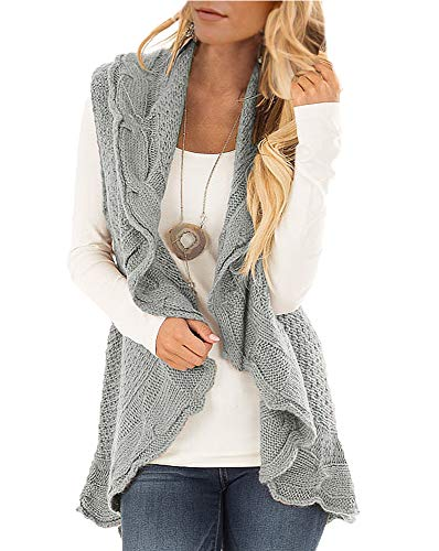 Womens Sweater Vest Plus Size Cable Knit Open Front Cardigans Fall Jackets Winter Coats Outwear