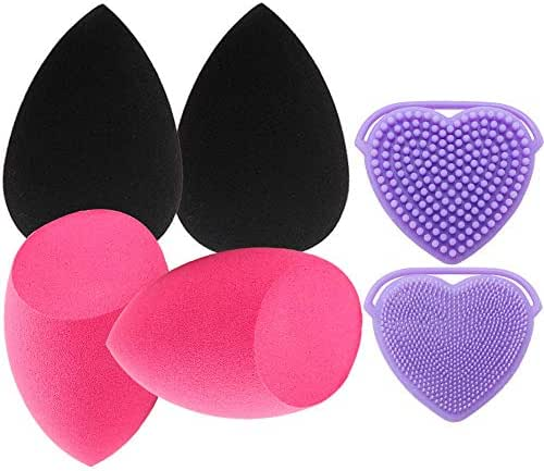 4pcs Makeup Sponge Blenders with 1Set Brush & Sponges Cleaner,Beauty Blending Buds for Liquid Foundation Cream and Powder,Durable and Soft,Multifunctional Cleaning