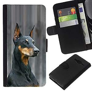 eJoy---La carpeta del tirón la caja de cuero de alta calidad de la PU Caso protector - Samsung Galaxy Core Prime - --German Pinscher Doberman Dog Black