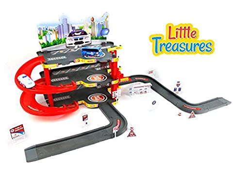 Little Treasures New style Police parking garage play toy with pretend city view - 3 floor structure with an elevator and ramps going from floor to floor - great gift - Toy Parking Garage Elevator