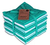 AMOUR INFINI Terry Dish Cloth   Set of 8   12 x 12 Inches   Durable, Super Soft and Absorbent  100% Cotton Dish Rags   Perfect for Household and Commercial Uses   Teal