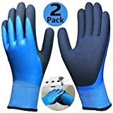 Waterproof Work Gloves 2 Pack, Double Coating Superior Grip and Comfortable, Improved Dexterity and Durable for Gardening Fishing Watering Auto Mechanic Multipurpose Use.