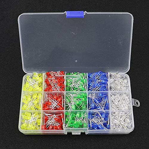 bianco, rosso, blu, verde, giallo DaoRier 500 pezzi 5 mm LED diodi luminosi componenti elettronici 5 colori luce
